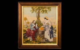 Antique Framed Cross Stitch Housed in wood frame with inner gilt mount, embroidered in wool,