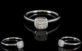 Ladies 18ct White Gold Diamond Set Cluster Dress Ring.
