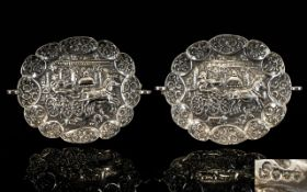 Pair Of Victorian Silver Embossed Dishes, Hallmarked London 1879, maker 'H.