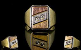 Gents 18ct Two Tone Gold Diamond Set Dress Ring,