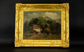19th Century Oil On Canvas Rural scene with cottage and figures, unsigned, 12 x 15 inches.