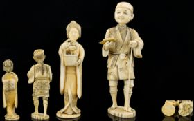 Japanese - Late 19th Century Small Carved Ivory Figures ( 2 ) The First Figure of a Fisherman with