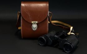 Carl Zeiss Jena Pair of Binoculars - Jenoptem 8x30 W, with Leather Case and Strap.