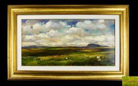 Paul De Mario - Titled ' Cloud Shadows ' On The Moors - Oil on Canvas. Signed.