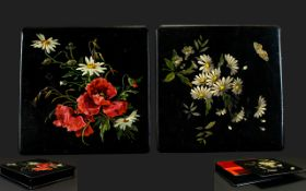Victorian Period - Ebonised Paper Mache Square Shaped Lacquered Boxes ( 2 ) with Good Quality