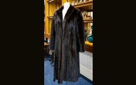 Full Length Dark Brown Mink Coat, collar with revers, side seam pockets,
