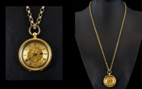 Antique Period 18ct Gold Ladies Ornate Fob Watch ( Open Face ) and Attached Antique Double Link 9ct