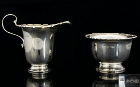 Art Deco Period - Attractive and Elegant Silver Milk Jug and Sugar Bowl of Excellent Proportions and