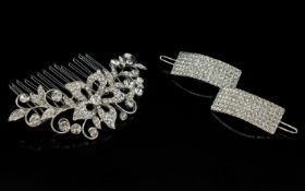 White Austrian Crystal Hair Comb and Clips, a pave set crystal flower to the centre with scrolling