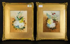 William Rayworth Two Floral Oil On Porcelain Plaques A pair of floral still life's each signed 'W.