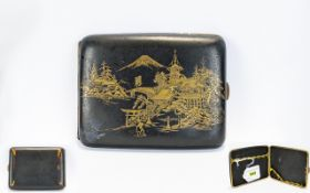 Japanese Damascene Cigarette Case, Gilt