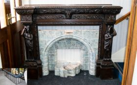 Large Antique Oak Carved Fire Place - To