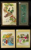 A Collection Of Four Oriental Silk Embro