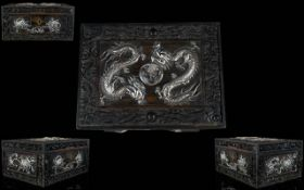 Chinese Export, Canton Carved Hinged Box
