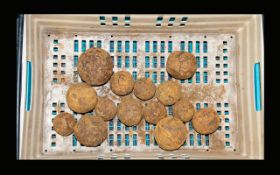 A Collection Of Mixed Size Cannon Balls/