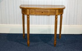 A Modern Yew Wood Console Table Comprisi