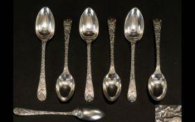 A Nice Quality Set of Six Silver Teaspoo