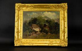 19th Century Oil On Canvas Rural scene w