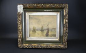 Watercolour Depicting Boating Scene On Calm Water circa 19th century, housed in period frame.