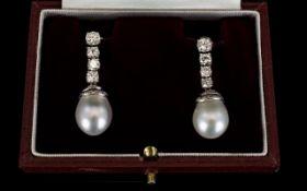 18ct White Gold Diamond Drop Earrings,