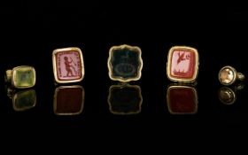 Antique Period - A Small Collection of Gold and Gold Plated Seals / Fobs ( 5 ) In Total.