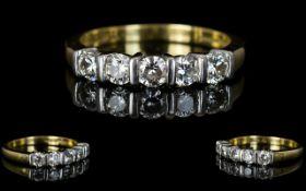 18ct Gold - Attractive 5 Stone Diamond Set Dress Ring,