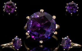 10ct Gold - Single Stone Faceted Raspberry Amethyst Set Dress Ring, Estimated Amethyst Weight 8.