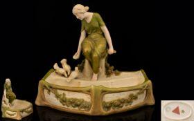 Royal Dux - Art Nouveau Impressive Porcelain Figural Centre Piece / Bowl - Depicts a Young Woman