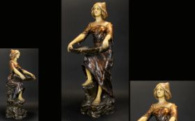Austrian Painted Chalkware Figure In The Form Of A Maiden Art Nouveau figure depicted standing on
