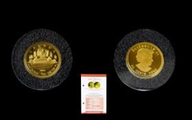 Gold Miniatures Collection Ltd Mintage 2005 Official ' Voyager ' Gold Coin of Canada - This Gold