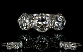 Art Deco Period Superb Quality Platinum Set 3 Stone Diamond Ring, Marked Platinum.