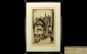 Frank Greenwood Etching of Manchester Grammar School pencil signed by artist,