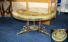Italian Onyx Style Brass Circular Coffee Table, Brass Mounts, Central Trefoil Support,