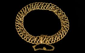 9ct Gold Bracelet Multi-Link Openwork Design with Safety Chain.