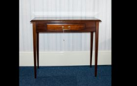 Mahogany Console Table Single Frieze Draw, Raised On Square Tapering Legs. Height 29 Inches.