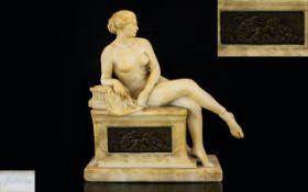 Paul Aichele (1859-1910) Jugendstil Alabaster Figure In The Form Of Diana After Leaving Her Bath