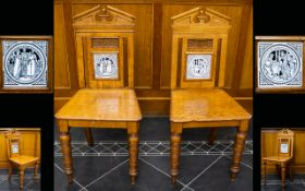 A Matching Pair Of Aesthetic Period Oak Hall Chairs Each chair with ring-turned front supports,
