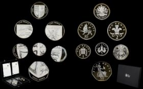 Royal Mint Silver Proof Collection 2008 United Kingdom Coinage - Royal Shield of Arms ( 7 ) Coins