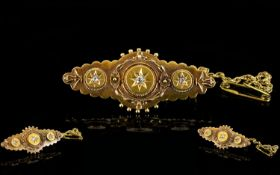 Victorian Period 15ct Gold Ornate Brooch Set with 3 Small Diamonds, Complete with Attached Gold