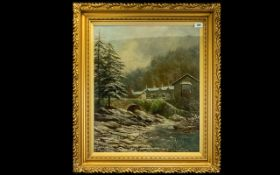 Albert Dunnington (British 1860 - 1928) Original Oil On Canvas Depicting a wintry riverside scene