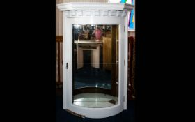 A Vintage Glazed Wall Vitrine White painted wall mounted unit with moulded cornice and glazed door.
