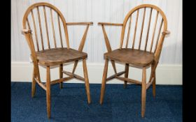 Ercol A Pair Of 1970's Elm/Ash Windsor Armchairs Each in good condition,