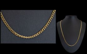 9ct Gold - Contemporary Long Chain ' Curb Design ' Fully Hallmarked for 9.375. 19.5 grams.