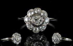Antique Period 18ct White Gold Diamond Set Cluster Ring ' Flowerhead Design ' Cushion Cut Diamonds