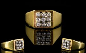 18ct Yellow Gold Diamond Set Cluster Ring, The Nine Round Cut Diamonds of Excellent Colour and