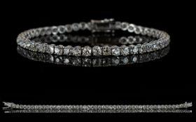 18ct White Gold Diamond Tennis Bracelet, Set With 48 Round Cut Diamonds, Estimated Diamond Weight 8.