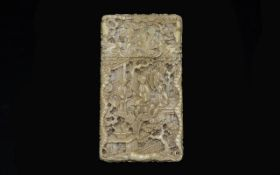 Chinese Early 19th Century Carved Ivory Card Case Profusely carved throughout, depicting figures,