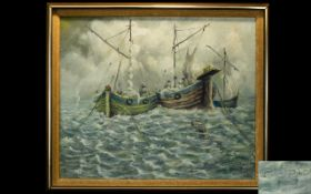 Original Oil On Canvas Depicting a seascape with two anchored boats.