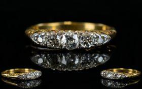 Antique Period 18ct Gold Set - 5 Stone Diamond Ring,