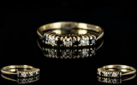 Ladies 9ct Gold Diamond and Sapphire Dress Ring, The 3 Diamonds Interspaced by Sapphires.